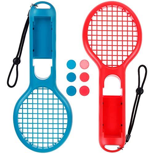 Zacro 2 Stück Tennisschläger für Nintendo Switch Joy Con Controller mit 6 Daumen Stock Griffe