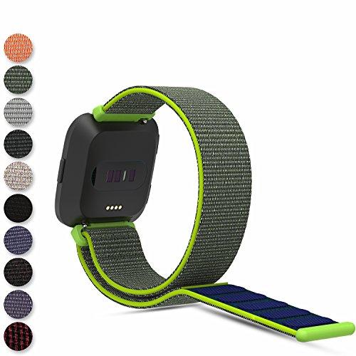 Feskio Für Fitbit Versa Smartwatch Schlaufenband, Gewebte Nylonband Klettverschluss Handgelenkschlaufe Ersatzarmband Schlaufe Sportarmband für Fitbit Versa Armbanduhr