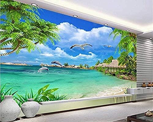 Fototapete HD Coconut Tree Seascape Strand Delfin Meer Landschaft 3D Hintergrundbild Wandbild für Wohnzimmer -Tapete, Vliestapete, Foto