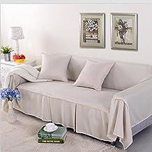 LY&HYL Lona de lino de imitación Funda Sofá Sólido Único / Dos / Tres / Sofá de cuatro plazas sofá de poliéster slipcovers utilizados para sala de estar Sofás de sofá beige , 215*350Sofa Cover