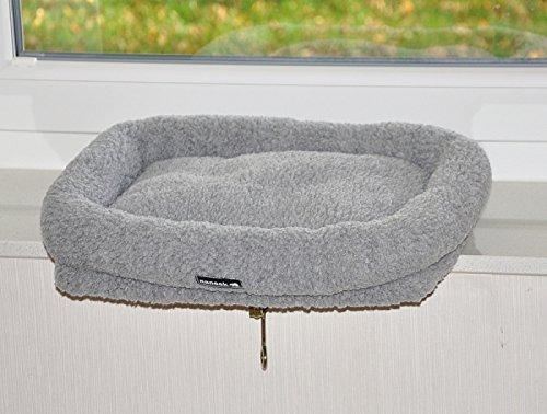 nanook Katzen Fensterbankliege Katzenliege für Fenster Liegemulde Sleepy, Größe L, Teddyfell grau