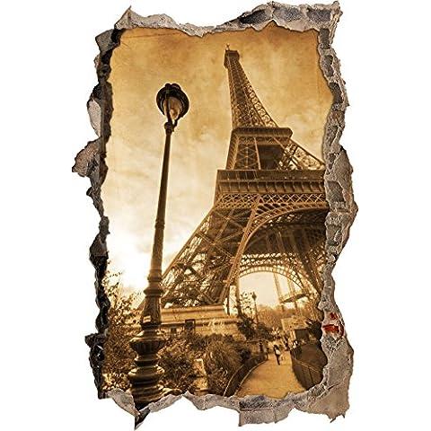 Torre Eiffel look retrò muro passo avanti nel look 3D, parete o in formato adesivo porta: 92x62cm, autoadesivi della parete, autoadesivo della parete, decorazione della