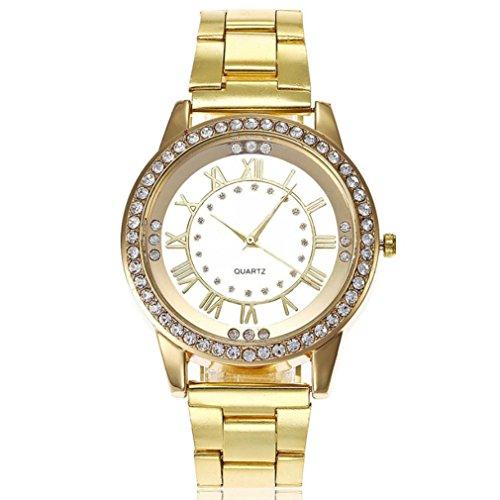 Uhren Dellin Qualität Japanisches QuarzWomen's Herren Kristall Strass Edelstahl Analog Quarz Armbanduhr (Golden)