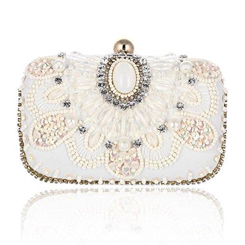 Damara® Damen Luxus Abend Clutches Mit Künstlicher Perlen,Weiß (Blume Perlen Clutch Satin)