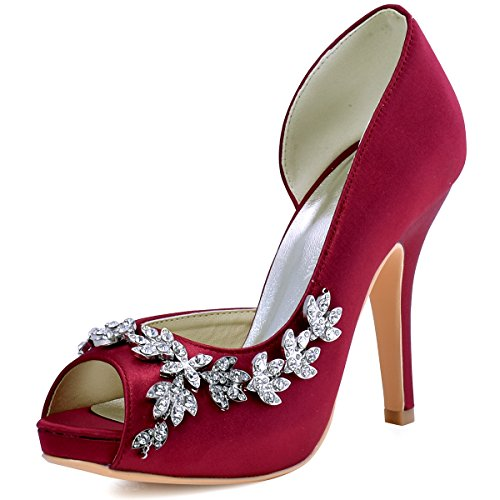 ElegantPark HP1560IAC Mujer Plataforma Peep Toe Tac¨®n Aguja Satin Zapatos De Noche Borgo?a EU 42