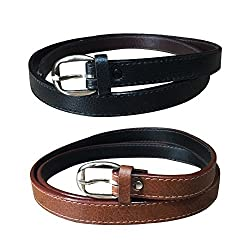 Verceys Black And Tan Leather Finish Belts For Women