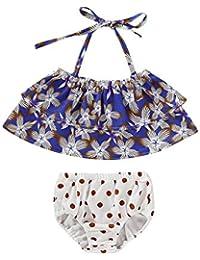 c33ca69a9 K-Youth® Traje de baño Dos Piezas Niña Estampado de Floral Bikinis de  Cuello Halter con Lunares Niñas 2019 Rebajas Lindo Ropa de Baño…