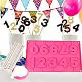 BAKAJI Stampo in Slicone per Choco Cake Pops Forma Numeri con Stecchi e Dosatore 9 Numeri per Feste Party e Compleanni