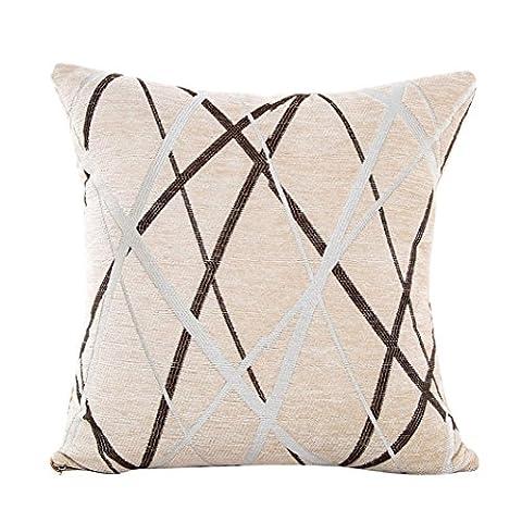 Indexp Plush Artistic Ray Cushion Cover, Stripe Home Decor Pillow Case (Beige)