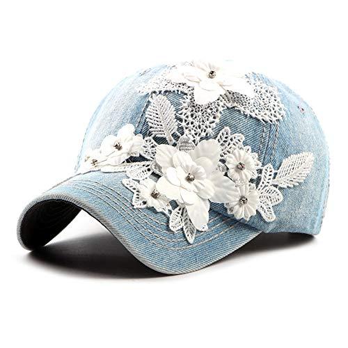 Denim Baseball Cap Frauen Blume Applique Jean Einstellbare Schirmmütze 6 Panel Floral Vintage Sun Hat Hut (Color : 2, Size : Free Size) (Floral Panel Hat)