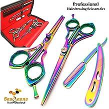 Saaqaans SSS-03 Tijeras de Peluquería Barbero Profesional Conjunto - De  Alta Calidad 7 Pulgadas 2c97bff02606