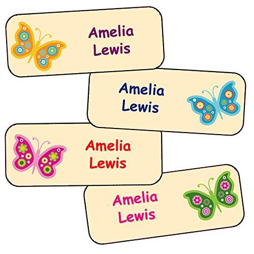 Namensaufkleber Kinder (Schmetterling-Motive, 40 Stück)
