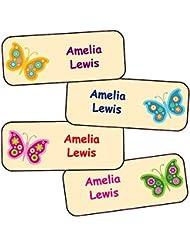 nom autocollants colorés pour les enfants/Personnalisés enfants étanches etiquettes/ (Papillons, 40)