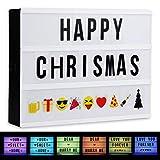 Farbwechsel LED Lichtbox ACTOPP Leuchtschild Buchstaben LED Leuchttafel A4 Box Leuchtkasten mit 96 Buchstaben 85 Emojis USB Kabel Netzteil Fernbedienung gestaltbar Leuchtkasten Weihnachten Geschenk