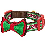 Blueberry Pet Christmas Santa Claus's Reindeer Holiday Season Dog Collar with Detachable Bow Tie, Neck 37cm-50cm, Medium, Holiday Collars for Dogs