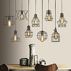 Vintage Edison Industrial jaula de metal Loft bar para lámpara de techo Retro lámpara colgante, color negro, D