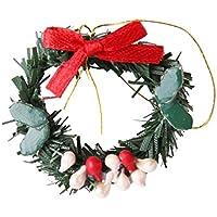 MagiDeal Miniatur hängende Weihnachtskranz mini Kranz Weihnachtsschmuck für 1:12 Puppenstuben