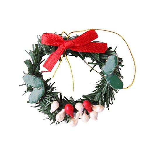 �ngende Weihnachtskranz mini Kranz Weihnachtsschmuck für 1:12 Puppenstuben (Mini-weihnachtsschmuck)