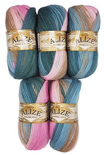 5 x 100 g Alize Strickwolle Farbverlauf rosa beige petrol Nr. 2970 zum Stricken und Häkeln, 500 Gramm 20% Wolle