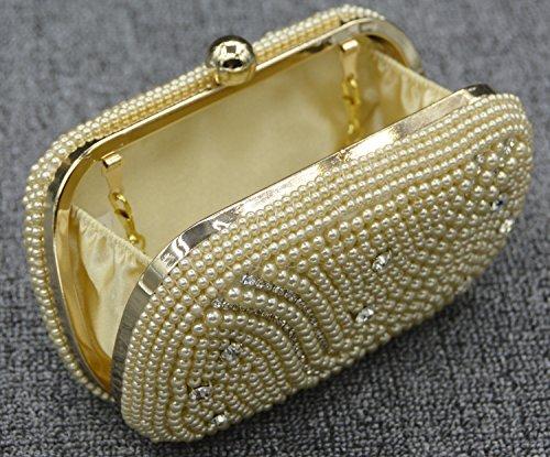 Perla Cena Dress Diamante banchetto Pacchetto Sacchetto della sposa della borsa del oro