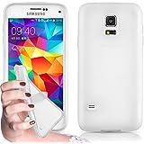 Cadorabo! Cubierta protectora de silicona TPU en diseño X-Line para Samsung Galaxy S5 MINI en BLANCO
