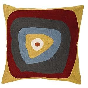 Zaida Housse de coussin en laine et coton Motif inspiré de Kandinsky Carrés et cercles concentriques Marron 45 x 45 cm