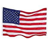 The Best American Flag–US Flag 3x 5& 2x 3stelle ricamate–Display come il vostro giardino bandiera–Bandiera da terrazzo o una bandiera di ricambio per il palo kit–interno–Altissima qualità durevole 210D Nylon–occhielli in ottone–quattro punti della fine non si sfilaccia, tessuto, Red, White, Navy Blue, 2 x 3 Feet