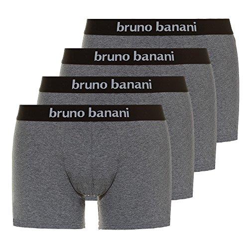 bruno banani 4er Pack Männer Unterhosen Boxer-Shorts Herren Unterwäsche Contest | graumelange / grau | - Für Boxer-slip Männer