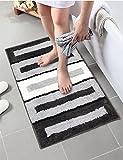 Lonior Rutschfester Badvorleger WaschbarBadematte Mikrofaser Badteppiche Duschvorleger Maschinenwäsche Badematten Teppich für Badezimmer, 80 x 50cm (Schwarz)