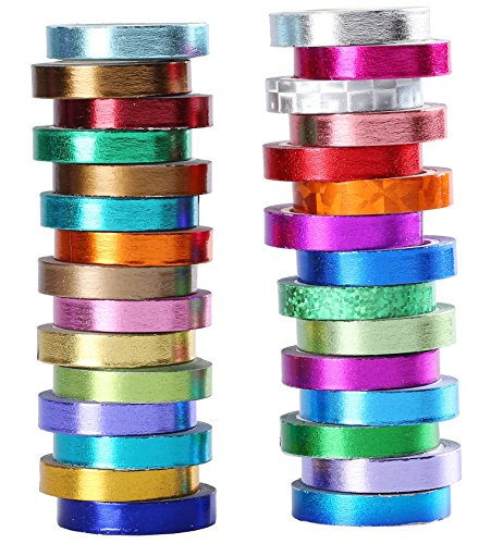 30 Rollen Folie Washi Tape bunt & Gold Metallic