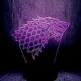 Tótem De La Familia Stark Wolf 3D Led Lámpara Juego De Tronos Súper Fanáticos Mejor Regalo Útil Recuerdo Luz Nocturna Exhibición Exhibición De Lava