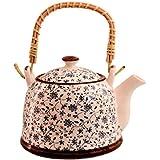 Purpledip Beautifully Painted Ceramic Kettle Tea Coffee Pot, 1000 Ml, With Steel Strainer (11227)