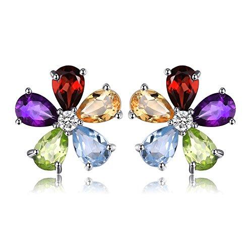 JewelryPalace Fiore 4.3ct Multicolore Naturale Ametista Citrino Granato Peridot Blu Topazio Stud Orecchini 925 Sterling Argento