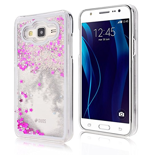Samsung Galaxy J3 Custodia, Samsung Galaxy J3 PC Back Cover in Plastica Trasparente 3D Glitter Scintillanti Stelle Quick and Mode Liquido Rigido Bling Della Stella Caso Transparent Sottile Anti Scivol bianca