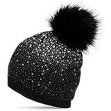 CASPAR MU188 Damen Fein Strick Glitzer Strass Winter Mütze mit Fellbommel, Farbe:schwarz;Größe:One Size
