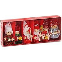 Brubaker - Suspensions pour Sapin de Noël - 6 Pièces - Lutins/Bonhommes tricotés - Figurines en Bois & Crochet - Décoration de Noël Traditionnelle - Hauteur 8 cm