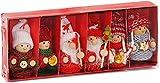 Brubaker 6-teiliges Set Weihnachtswichtel aus Holz und Strick Baumanhänger Weihnachtsanhänger 8 cm in Geschenkbox