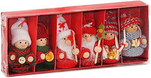 Brubaker set di 6 gnomi di natale in legno decorazioni addobbi natalizi 8 cm in confezione regalo
