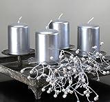 Kerzen Safe Candle Markenkerzen Adventskerzen Stumpenkerzen 70/50 mm silber, 12 Stk. Bild