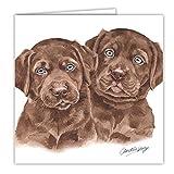Schokolade Labrador Hund Geschenk–Qualität Grüße Karte mit gratis Auto-Lufterfrischer