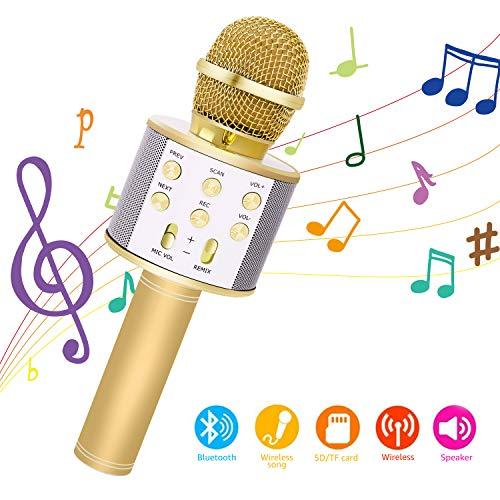 Bearbro Microphone Karaoke Sans Fil,bluetooth karaoké microphone, KTV Karaoké Enfants Adulte pour Chanter, Fête, Enregistrement, Compatible avec Android Smartphone PC (or)