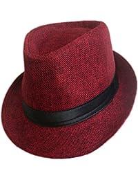 LUOEM Ocio Unisex Sombreros de Fedora Mujeres con estilo Hombres Panamá Jazz Sombrero Vaquero Gangster Cap