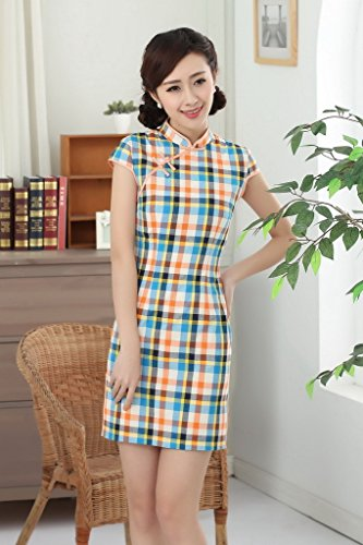 Smile YKK Qipao Robe Courte Rétro Femme Orientale Carreaux Turquoise