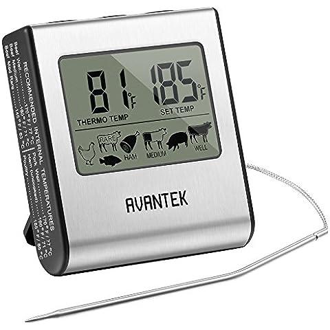 AVANTEK Termometro Digitale da Cucina, Misura Temperatura Alimenti con Display LCD con Timer