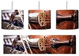 Alte Violine inkl. Lampenfassung E27, Lampe mit Motivdruck, tolle Deckenlampe, Hängelampe, Pendelleuchte - Durchmesser 30cm - Dekoration mit Licht ideal für Wohnzimmer, Kinderzimmer, Schlafzimmer
