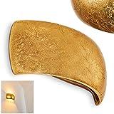 Wandleuchte Up & Down Scandicci aus Keramik – Goldfarbene Zimmerlampe im halbrunden Design für Flur – Wohnzimmer – Schlafzimmer – Keramik Lampe – Wandlampe mit 2 Lichtkegeln an der Wand