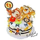 Windeltorte / Pamperstorte > Babygeschenk für Mädchen und Jungen in schönem Orange - Braunton // Geschenk zur Geburt, Taufe, Babyparty // originelles und praktisches Geschenk für Babys
