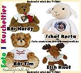 großer Kuschelteddy Bär, Schaf, Elch, mit Ihrem Foto Druck auf T-Shirt Farbe Elch Knut