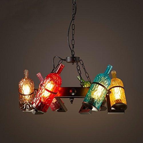 Wandun Bottiglia di vino retrò lampada e lampadari in ferro battuto eoliche industriali