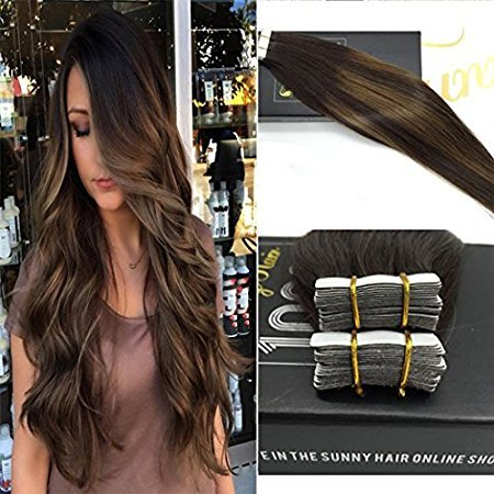 Sunny balayage marrone scuro con caramel blonde hair extension adesive capelli veri 40pcs/100g 16